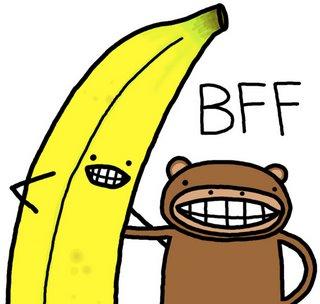 aap en banaan, beste vrienden